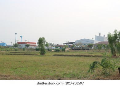 The factory is located in the middle of the field.