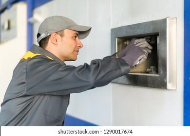 Factory maintenance mechanic work