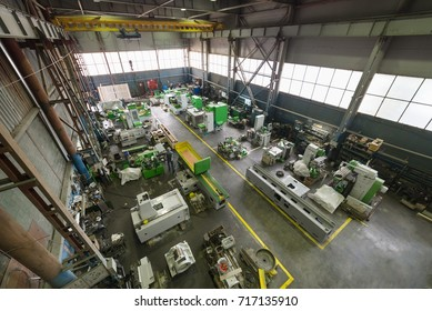 Factory manufacturing of modern metalworking machines. View from above.