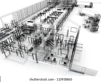 Factory with offices, warehouse and shipping service. Computer generated visualization in sketchy style.