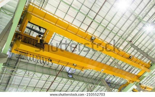 Factory Overhead Crane Installation On Rail Stock Photo
