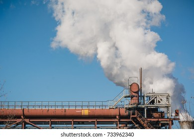 Factory pipes smoke. Smoke from pipes. NLMK. Production of coke.