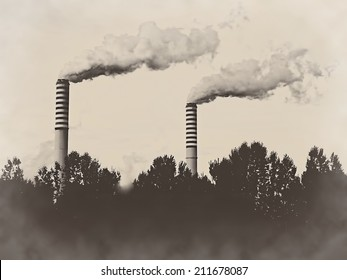 Factory plant stacks chimneys isolated on old sepia retro vintage background