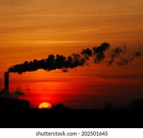 factory polluting emissions surrounding space