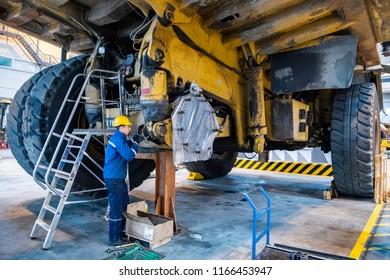 Factory for repair of dump trucks. Horishni Plavni, Ukraine. 26-10-2017