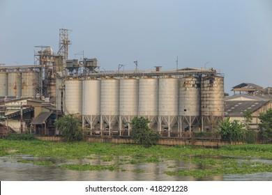 Factory and Silo near river, Bangkok, Thailand