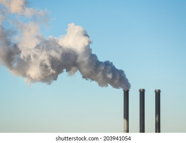 Factory smoke stack air pollution