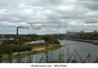 Factory Smoke under the Tyumen city's river in Russia