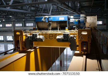 Factory Warehouse Overhead Crane Stock Photo (Edit Now) 707113150