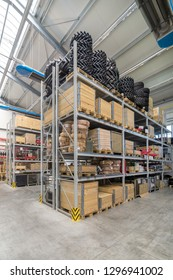 Factory warehouse spare parts. Storage and distribution of components.