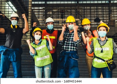 Factory workers with high morale to fight the outbreak of Novel Corona Virus Disease 2019 or COVID-19 .