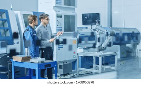 In Factory Workshop: Workers Use High-Tech Industrial CNC Machinery, Robot Arm. Inside Office: Digital Engineering Professional Working on Personal Computer, Designing 3D Component in CAD Software