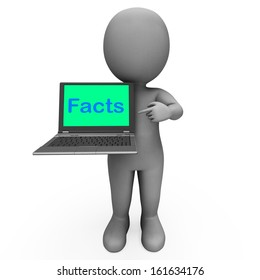 Facts Character Laptop Showing Honesty Data And Knowledge