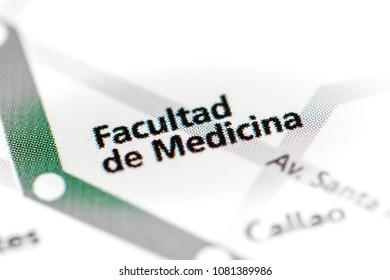 Facultad de Medicina Station. Buenos Aires Metro map. on a map.