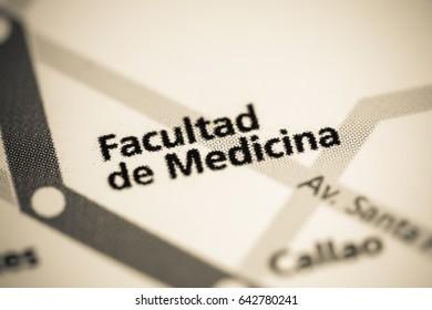 Facultad de Medicina Station. Buenos Aires Metro map.