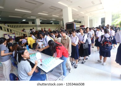 Faculty of arts, Chulalongkorn University, Bangkok Thailand, March 23, 2019 : The students are waiting in the line to register to attend the exhibition.