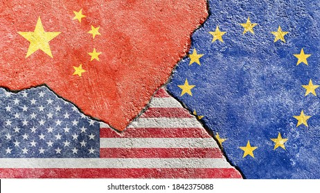 Faded China VS USA VS EU national flags icon on broken weathered concrete wall with cracks, abstract international political economic relationship conflicts pattern texture background wallpaper