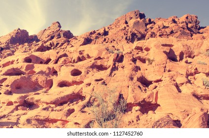 Faded Film Look Landscape shot of desert rock formations in Valley of Fire Nevada USA