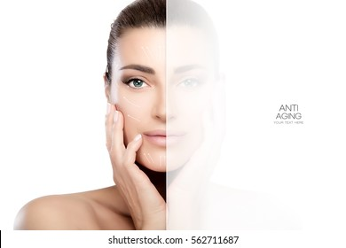 Faded side on smiling face of woman with tied back hair, hands on cheeks and bare shoulders over white for concept about anti aging treatment and plastic surgery.
