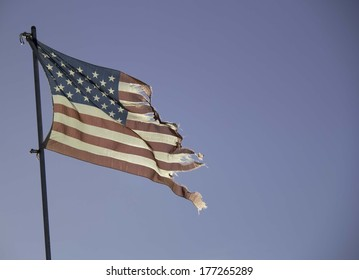 Faded and Tattered American Flag