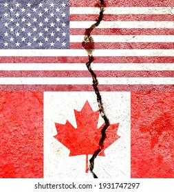Faded USA VS Canada national flags icon pattern isolated on broken weathered cracked wall background, abstract international political relationship friendship conflicts concept texture wallpaper