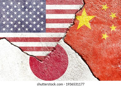 Faded USA vs China vs Japan national flags icon isolated on broken weathered cracked wall background, abstract US China Japan politics conflicts concept texture wallpaper