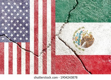 Faded USA VS Mexico vertical national flags icon isolated on broken weathered cracked wall background, abstract international politics relationship friendship conflicts concept texture wallpaper