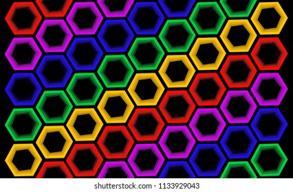 fading colorful hexagons