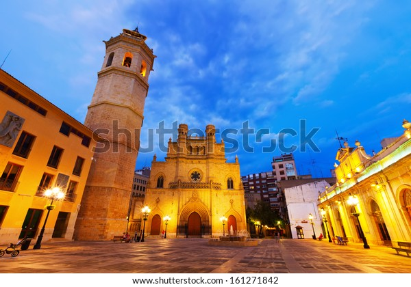 Fadri tower and Gothic Cathedral  at Castellon de la Plana in night.  Valencian Community