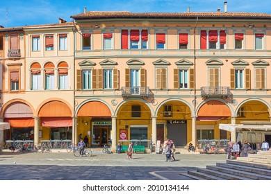 Faenza, Italy - February 27, 2020: Old buildings on Piazza del Popolo in Faenza, Emilia-Romagna, Italy
