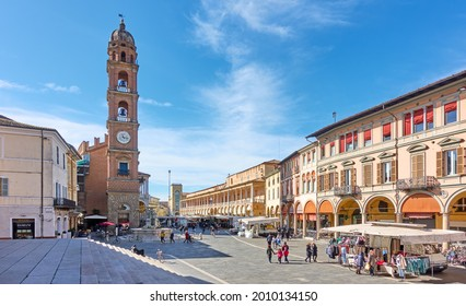 Faenza, Italy - February 27, 2020: View of Piazza del Popolo with weekly market in Faenza, Emilia-Romagna, Italy
