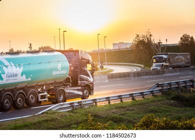 FAENZA (RA), ITALY - SEPTEMBER 20, 2018: truck with  GRANAROLO  logo running on highway