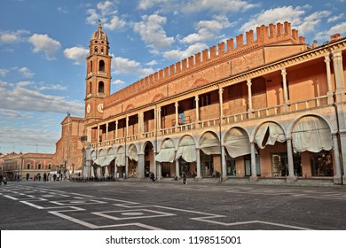 Faenza, Ravenna, Emilia-Romagna, Italy: Piazza del Popolo (People's Square) with the characteristic double porch on the facade of the medieval palace in the city famous for the artistic ceramics