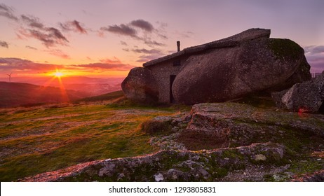 Fafe, Portugal - January 20, 2019 : Famous house of the boulder, considered by some the most strange building in the world Fafe, Portugal