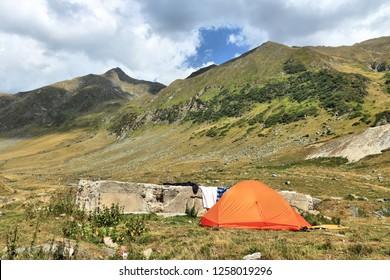 Fagaras Mountains in Romania - camping in the valley