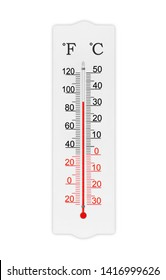 Fahrenheit and celsius scale meteorology thermometer for measuring air temperature. Thermometer isolated on white background. Ambient temperature plus 90 degrees fahrenheit