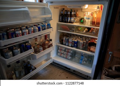 Faifrax, California - July 4, 2014: Beer and other drinks in fully stocked in preparation for Independence Day celebration