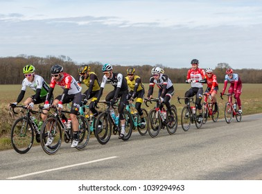 Fains-la-Folie, France - March 5, 2018: The peoton riding on a country road during the stage 2 of Paris-Nice 2018.