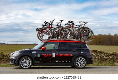 Fains-la-Folie, France - March 5, 2018: The technical car of Team Sunweb driving on a country road after the passing of the peloton during the stage 2 of Paris-Nice 2018.