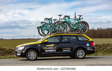 Fains-la-Folie, France - March 5, 2018: The technical car of LottoNL-Jumbo Team driving on a country road after the passing of the peloton during the stage 2 of Paris-Nice 2018.