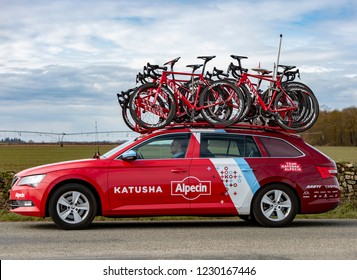 Fains-la-Folie, France - March 5, 2018: The technical car of  Team Katusha Alpecin driving on a country road after the passing of the peloton during the stage 2 of Paris-Nice 2018.