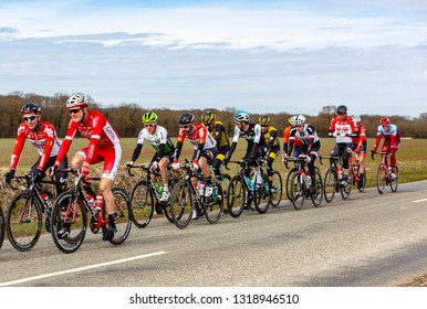 Fains-la-Folie, France - March 5, 2018: The Belgian cyclist Thomas De Gendt of  Lotto Soudal Team riding in the peloton on a country road during the stage 2 of Paris-Nice 2018.