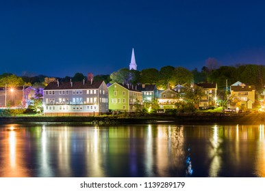 Fair Haven Heights and the Quinnipiac River at night, in New Haven, Connecticut