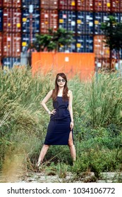Fair skin young lady in tight fitting blue dress and curly long brown hairs wear sunglasses with hand on waist stand near freight containers at the background.