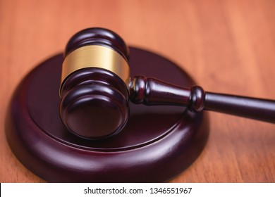 Fair trial. Judge's wooden gavel on the table. Кight to a lawyer. Judicial law. Сoncept of law and court.