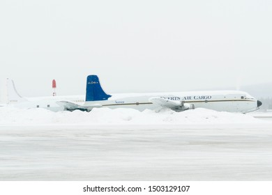 Fairbanks Airport, Alaska - March 7 2019 : Airport view with Airplane passenger during winter