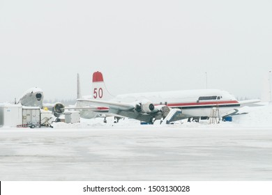 Fairbanks Airport, Alaska - March 7 2019 : Airport view with Airplane passenger during a winter