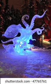 "FAIRBANKS, AK - FEBRUARY 27: ""Blue Ring Octopus"" Ice Sculpture, 2010 World Ice Art Championships February 27, 2010 in Fairbanks, Alaska"