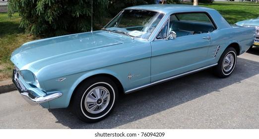 FAIRBANKS, AK - JUNE 19: 1966 Ford Mustang, 2010 Alaska Midnight Sun Cruise-In Auto Show June 19, 2010 in Fairbanks, Alaska