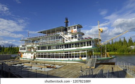 FAIRBANKS, ALASKA - AUGUST 9, 2018: Paddle steamer on the river Chena. Boat trip down the river is a popular attraction Fairbanks, Alaska, USA